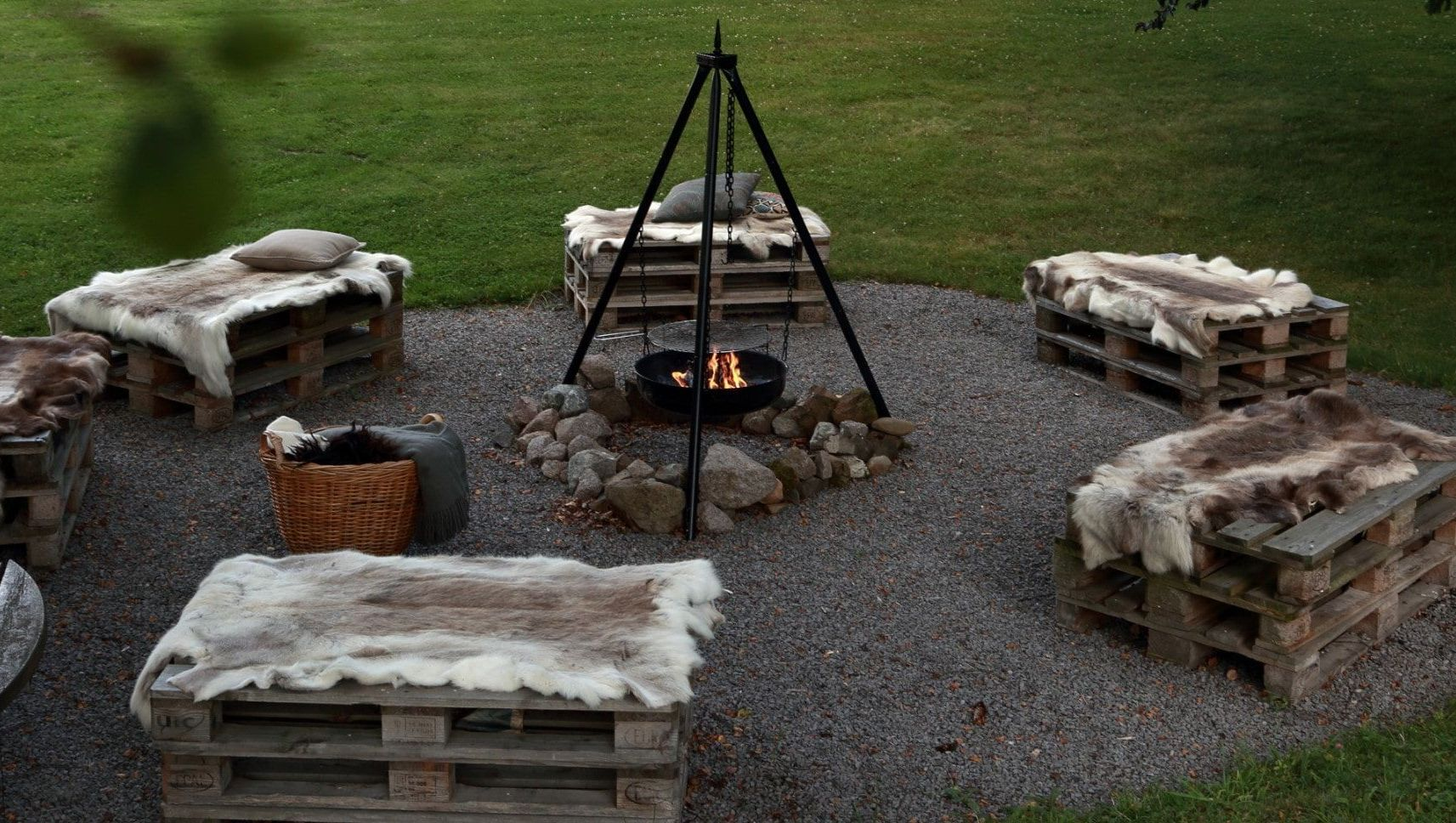 Campfire with seats