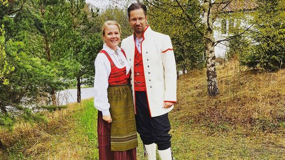 Couple in national costumes